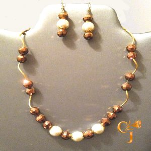 Crystal pearls with copper Czech crystals necklace and earrings set