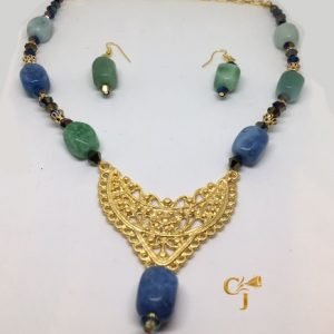 Shades of Amazonite with blue Czech crystals necklace and earrings set