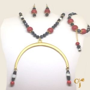 Qasees and someet (Dzi beads) with red sponge coral ethnic Nubian necklace, bracelet, and earrings set