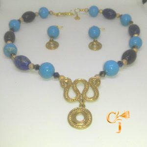 Turquoise howlite with lapis necklace and earrings set