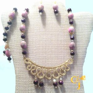 Pink jasper with purple Czech crystals necklace, bracelet, and earrings set
