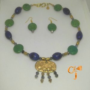 Chrysocolla and lapis necklace and earrings ethnic amulet necklace and earrings set