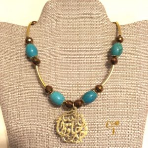 Turquoise howlite with copper Czech crystals necklace with Arabic calligraphy pendant