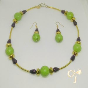 Green howlite with purple Czech crystals necklace and earrings set