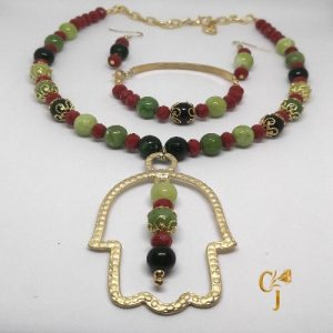Shades of green jade and red coral crystal rondelles with Hamsa pendant necklace, bracelet, and earrings set