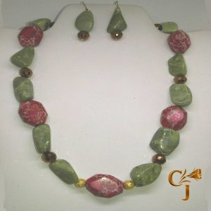 Red picture jasper with olive jade necklace and earrings set