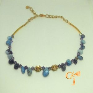 Turquoise moss agate nuggets with light purple Czech crystals necklace