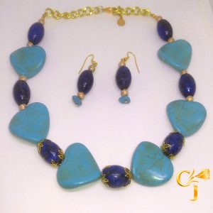 Turquoise howlite hearts with lapis necklace and earrings set