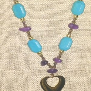 """Turquoise howlite and purple jade """"upside down hearts"""" necklace and earrings set"""