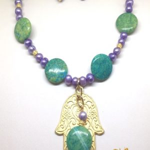 Chrysocolla with lilac freshwater pearls Hamsa necklace and earrings set
