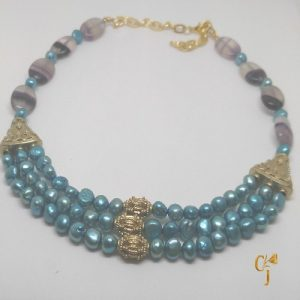 Turquoise freshwater pearls and banded amethyst necklace